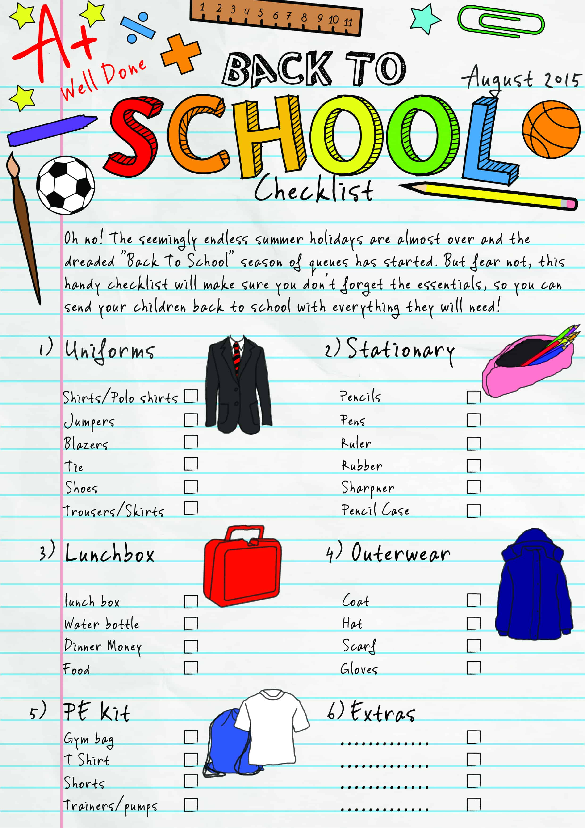 Back to school checklist Print